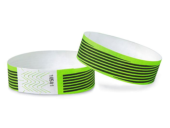 Tyvek® Wristbands - Stripes, Neon Green S-15232G