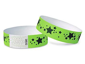 Tyvek<sup>&reg;</sup> Wristbands - Stars, Neon