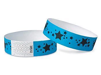 Tyvek® Wristbands - Stars, Neon Blue S-15233BLU