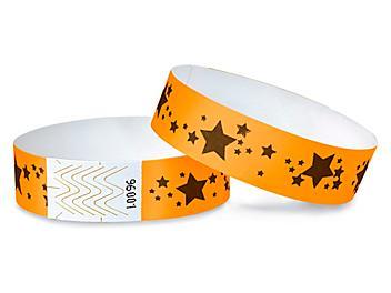 Tyvek® Wristbands - Stars, Neon Orange S-15233O