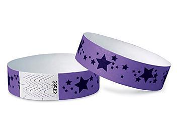 Tyvek® Wristbands - Stars, Purple S-15233PUR