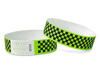 Tyvek<sup>&reg;</sup> Wristbands - Checkerboard, Neon