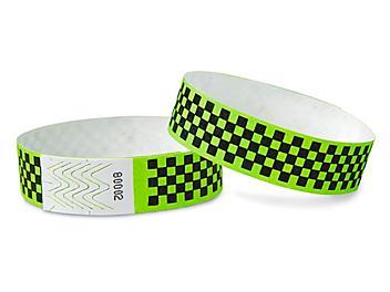 Tyvek® Wristbands - Checkerboard, Neon Green S-15234G