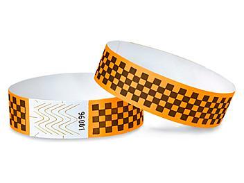 Tyvek® Wristbands - Checkerboard, Neon Orange S-15234O