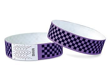 Tyvek® Wristbands - Checkerboard, Purple S-15234PUR