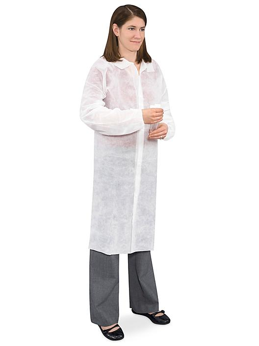 Uline Economy Lab Coat with No Pockets, Snap Front - White, 2XL S-15374W-2X