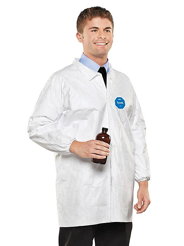 DuPont™ Tyvek® Lab Coat with No Pockets Bulk Pack - Large S-15410B-L