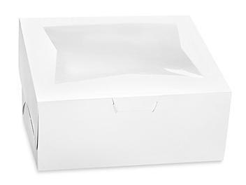 "Window Cake Boxes - 14 x 10 x 6 1/2"", 1/4 Sheet, White S-15468"