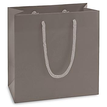 "Matte Laminate Shopping Bags - 6 1/2 x 3 1/2 x 6 1/2"", Mini, Gray S-15481GR"