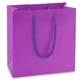 "Matte Laminate Shopping Bags - 6 1/2 x 3 1/2 x 6 1/2"", Mini, Purple S-15481PUR"
