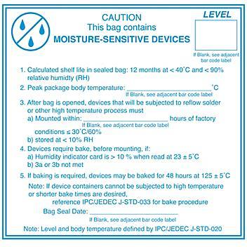 """Moisture Sensitive Label - 4 x 4"""" S-15505"""