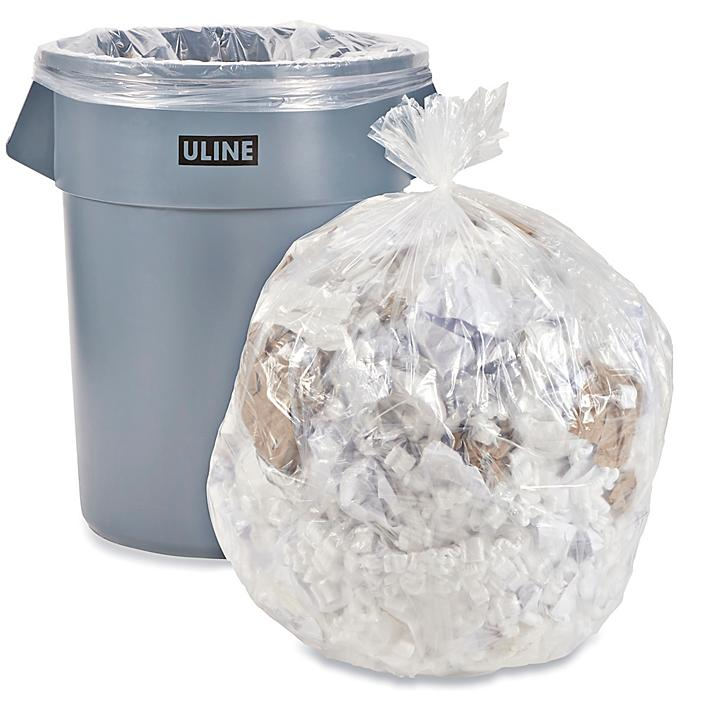 Uline Industrial Trash Liners - 55-60 Gallon, 2 Mil, Clear S-15538