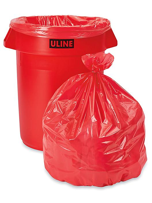 Trash Liners - 33 Gallon, Red S-15542R