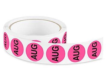 """Circle Months of the Year Labels - """"AUG"""", 1"""" S-15554"""