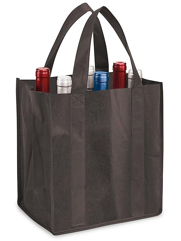 "Reusable Wine Tote - 12 x 8 x 11 1/2"", Black S-15560BL"