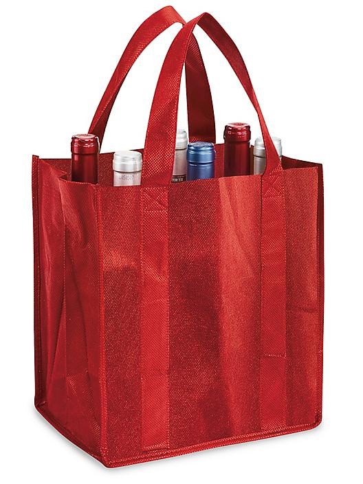 """Reusable Wine Tote - 12 x 8 x 11 1/2"""", Red S-15560R"""