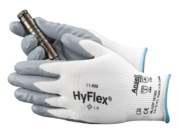 Ansell HyFlex® 11-800 Foam Nitrile Coated Gloves - White/Gray, 2XL S-15572WG-2X