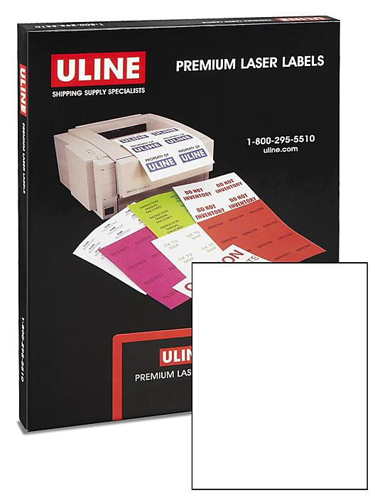 """Uline Laser Labels - Glossy White, 8 1/2 x 11"""" S-15581"""