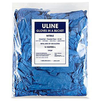 Uline Blue Industrial Nitrile Gloves in a Bucket Refill Bag