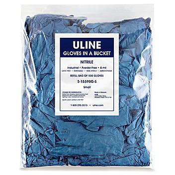 Uline Blue Industrial Nitrile Gloves in a Bucket Refill Bag - Small S-15590G-S