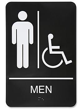 "Plastic Accessible Restroom Sign - ""Men"", Black S-15597BL"