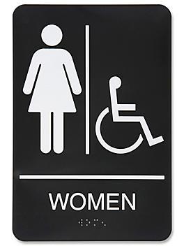"Plastic Accessible Restroom Sign - ""Women"", Black S-15598BL"