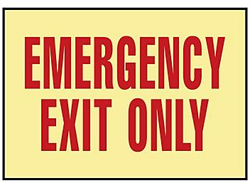"""Glow-In-the-Dark Sign - """"Emergency Exit Only"""", Adhesive Backed S-15602"""