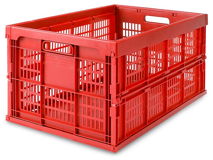 """Collapsible Milk Crates - 22 x 14 x 11"""", Red S-15609R"""