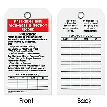 Fire Extinguisher Tags - Recharge and Inspection S-15616