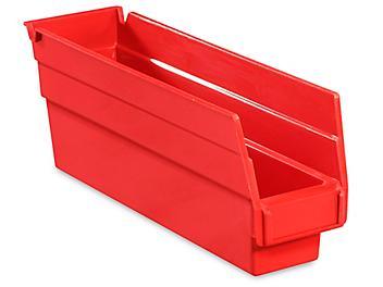 """Plastic Shelf Bins - 2 3/4 x 12 x 4"""", Red S-15641R"""