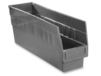 """Plastic Shelf Bins - 4 x 18 x 6"""", Black S-15644BL"""