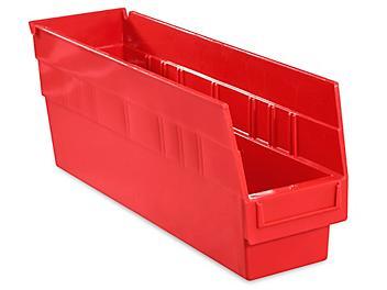 """Plastic Shelf Bins - 4 x 18 x 6"""", Red S-15644R"""