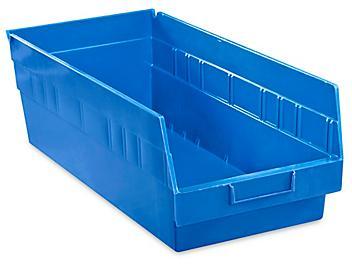 """Plastic Shelf Bins - 8 1/2 x 18 x 6"""", Blue S-15646BLU"""