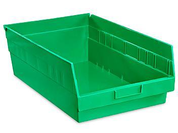 """Plastic Shelf Bins - 11 x 18 x 6"""", Green S-15647G"""