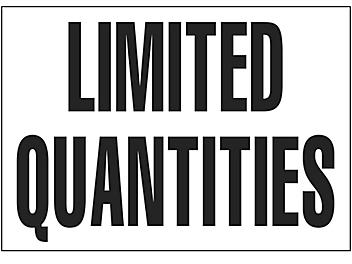 """D.O.T. Placard - """"Limited Quantities"""", Adhesive Vinyl, 7 x 10"""" S-15700"""