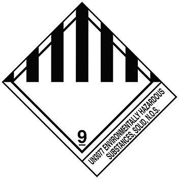 "D.O.T. Labels - ""Environmentally Hazardous Substance, Solid, N.O.S. UN 3077"", 4 x 4 3/4"" S-15712"