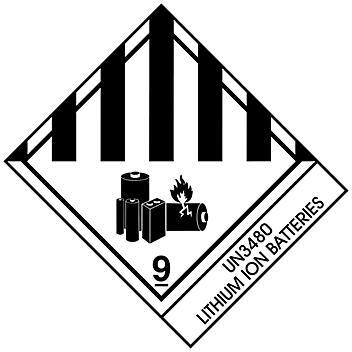 """D.O.T. Labels - """"Lithium Ion Batteries UN 3480"""", 4 x 4 3/4"""" S-15715"""