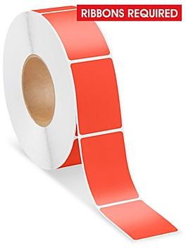 """Industrial Thermal Transfer Labels - Red, 2 x 3"""", Ribbons Required S-15724R"""