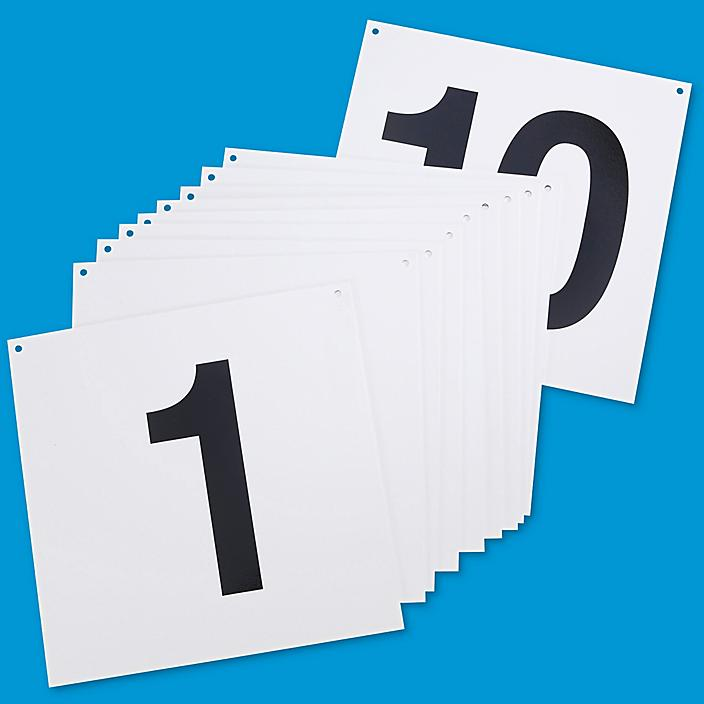 """Hanging Numbered Aisle Signs - 1-10, 12 x 12"""" S-15741-1"""