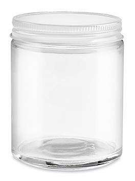 Straight-Sided Glass Jars - 6 oz, White Metal Lid S-15847M-W