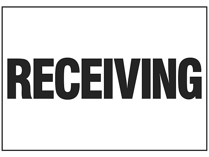 """""""Receiving"""" Sign - Vinyl, Adhesive-Backed S-16153V"""