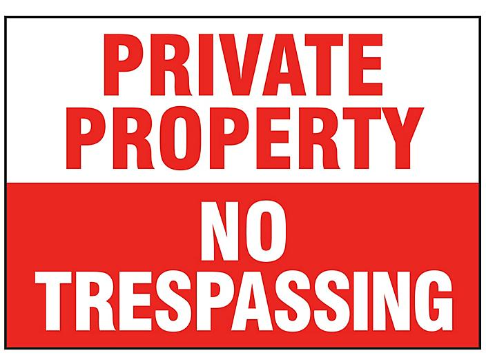 """""""Private Property No Trespassing"""" Sign - Vinyl, Adhesive-Backed S-16156V"""