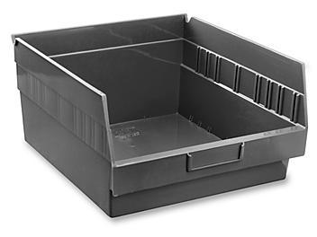"""Plastic Shelf Bins - 11 x 12 x 6"""", Black S-16278BL"""