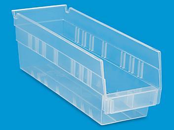 """Clear Plastic Shelf Bins - 4 x 12 x 4"""" S-16292"""