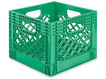 "Rigid Milk Crates - 12 x 12 x 10 1/2"", Green S-16317G"