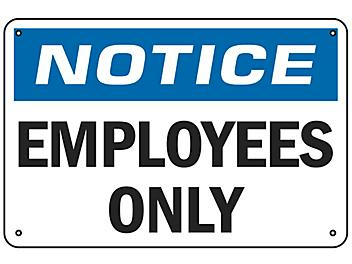 """""""Employees Only"""" Sign - Aluminum S-16451A"""