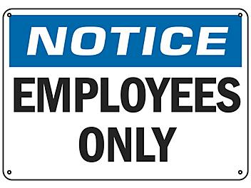 """""""Employees Only"""" Sign - Plastic S-16451P"""