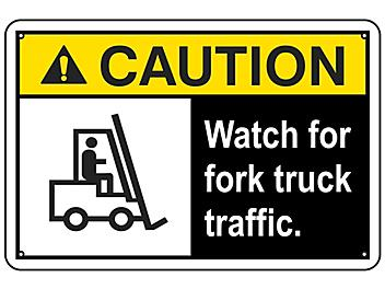 """""""Watch For Fork Truck Traffic"""" Sign - Aluminum S-16452A"""