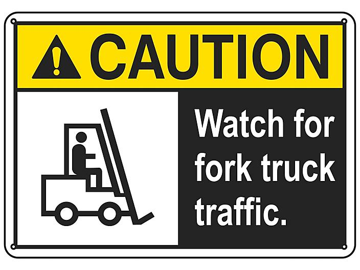 """""""Watch For Fork Truck Traffic"""" Sign - Plastic S-16452P"""