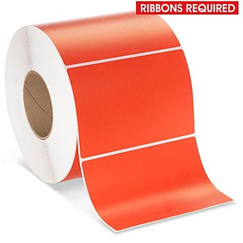 """Industrial Thermal Transfer Labels - Red, 6 x 4"""", Ribbons Required S-17061R"""